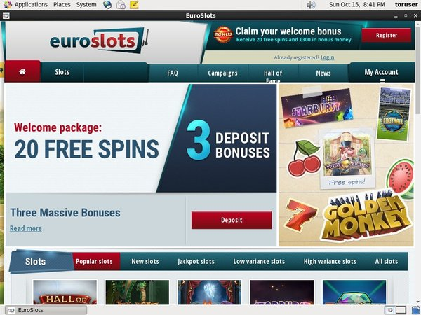 Euroslots Desktop Site Login