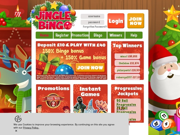 Jingle Bingo Bonus Code Offer