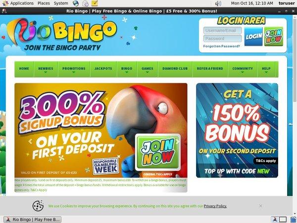 Rio Bingo Joining Promo Code