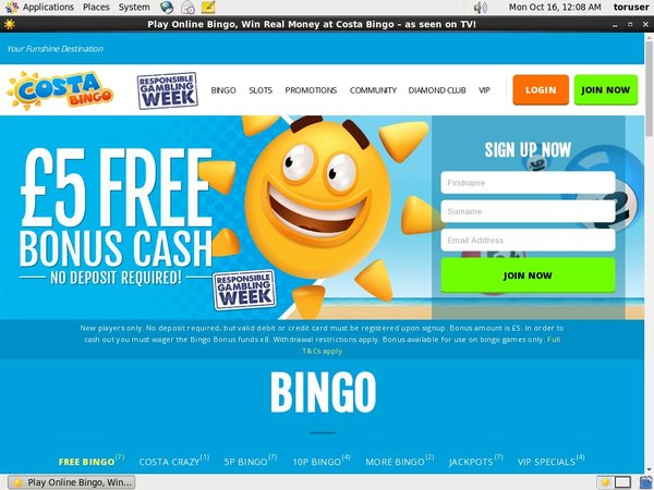 Costa Bingo Welcome Bonus No Deposit