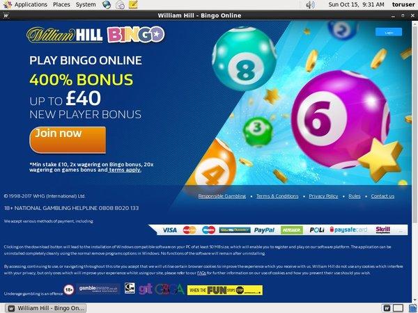 William Hill Bingo Bank Wire