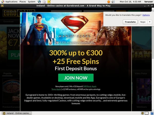 Eurogrand First Deposit Bonus